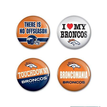 4 Bottons Pins Denver Broncos NFL