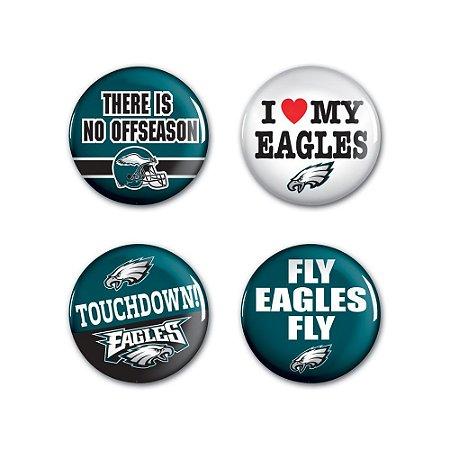 4 Bottons Pins Philadelphia Eagles NFL