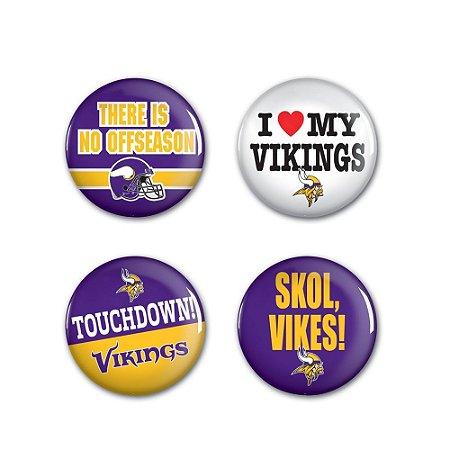 4 Bottons Pins Minnesota Vikings NFL