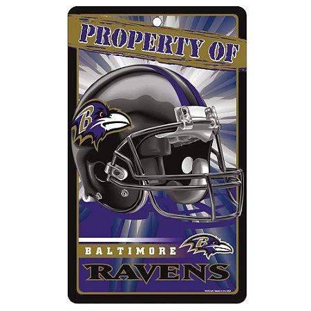 Placa Decorativa 18x30cm Baltimore Ravens NFL