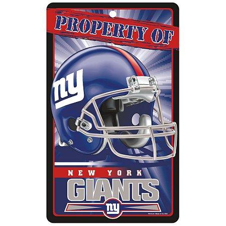Placa Decorativa 18x30cm New York Giants NFL