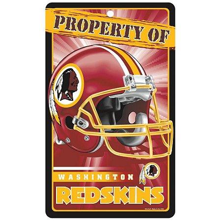 Placa Decorativa 18x30cm Washington Redskins NFL
