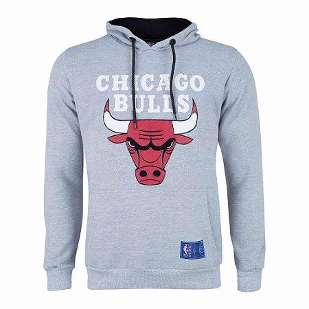 Casaco Moletom Chicago Bulls Canguru Logo Cinza - NBA