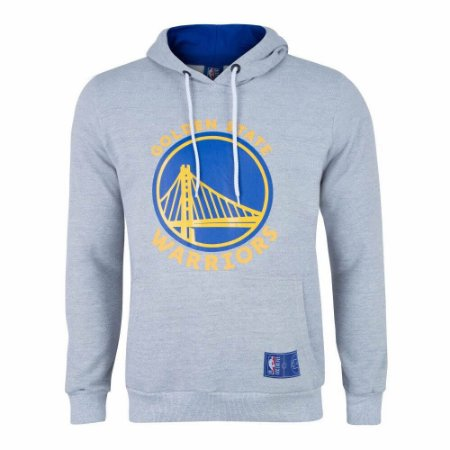 Casaco Moletom Golden State Warriors Canguru Logo Cinza - NBA