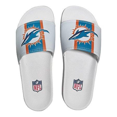 Chinelo Slide NFL Miami Dolphins Branco e Azul