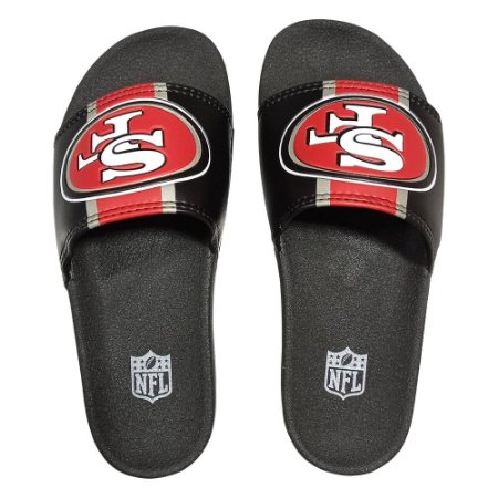 Chinelo Slide NFL San Francisco 49ers Preto e Vermelho