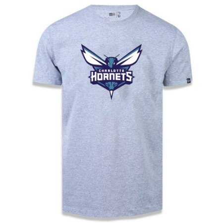 Camiseta New Era Charlotte Hornets Basic Logo NBA Cinza
