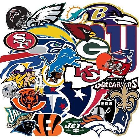 c059cbd0c Coleção 32 Adesivos todos times NFL - Vinil Brilho 15cm - FIRST DOWN ...
