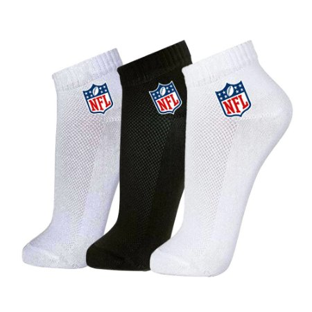 Meia Masculina Cano Curto NFL Color Pack 3 Pares