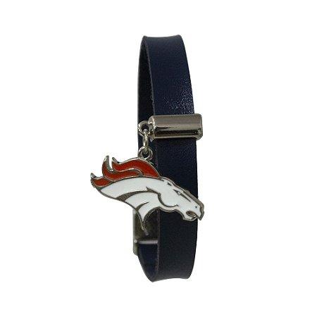 Pulseira Denver Broncos NFL Azul C/ Pingente Metalizado