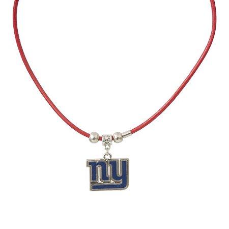 Colar New York Giants NFL Vermelho C/ Pingente Metálico