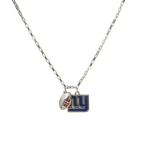 Colar New York Giants NFL Corrente C/ Pingentes Metálicos