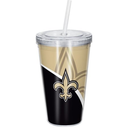 Copo Com Canudo Luxo NFL New Orleans Saints