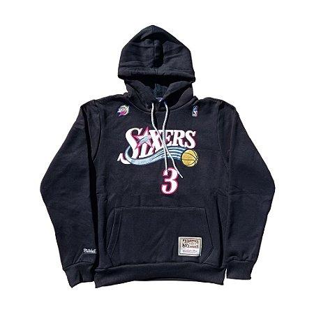 Moletom Canguru M&N Philadelphia 76ers NBA Iverson 3 Preto