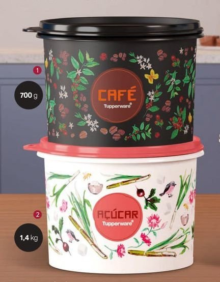 Tupperware Kit Floral 2 peças - Café e Açúcar
