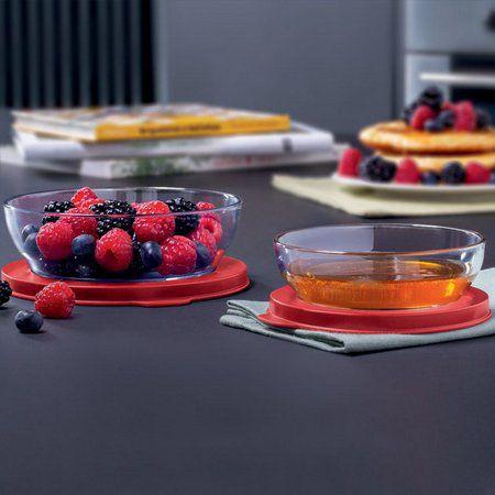 Tupperware Tigela Clear Kit 2 peças  - 180ml + 410ml Vermelha