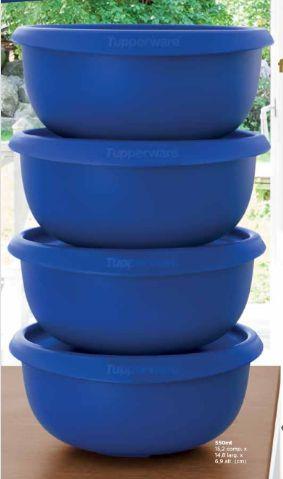 Tupperware Tigela Toque Mágico 550 Azul - Kit 4 Peças