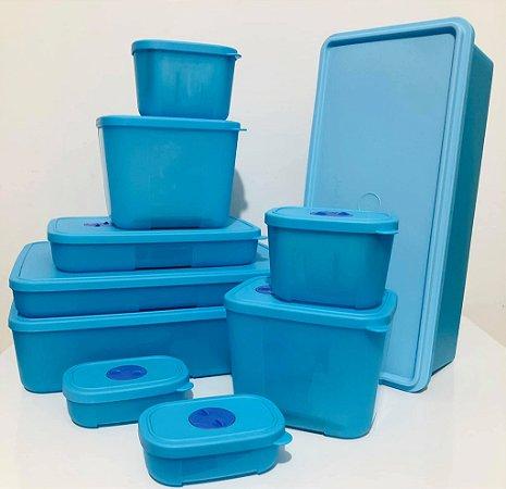 Tupperware Conjunto Freezertime Azul 10 peças