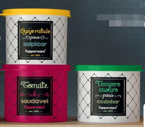 Tupperware Kit Redondinhas Bistrô - Queijo Ralado+Molho Tomate+Tempero Caseiro