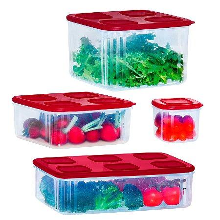 Tupperware Kit TupperFresh 4 peças- 1,6L/1,5L/1L/200ml