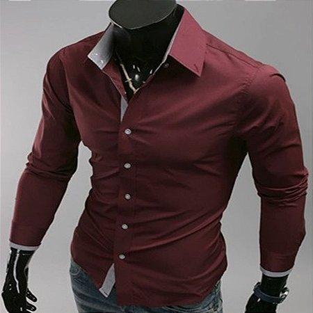 Camisa Masculina Casual Slim Fit Primavera