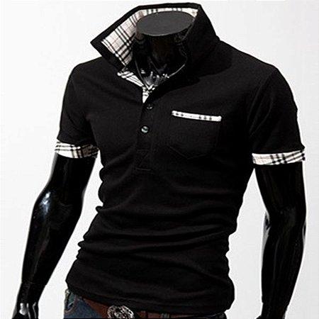 Camisa Polo Masculina Turndown Collar
