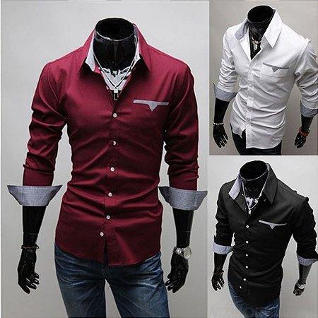 Camisa Masculina Casual Manga Longa