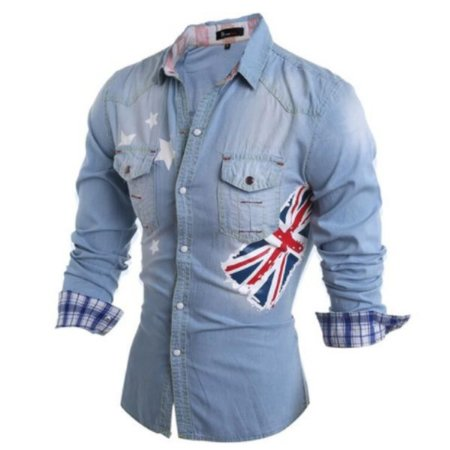 Camisa Masculina Casual  Jeans Long Sleeve