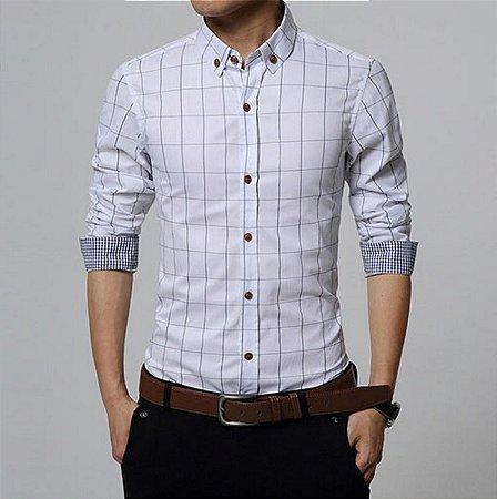Camisa Masculina Casual Slim Fit Quadriculada