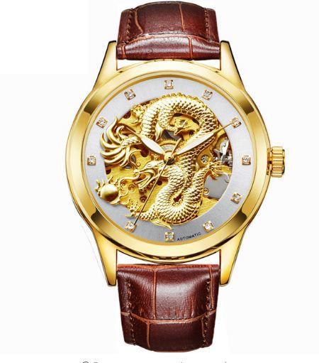 Relógio Masculino Dragon Pulseira de Couro