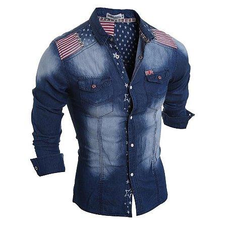 Camisa Masculina Casual Jeans England