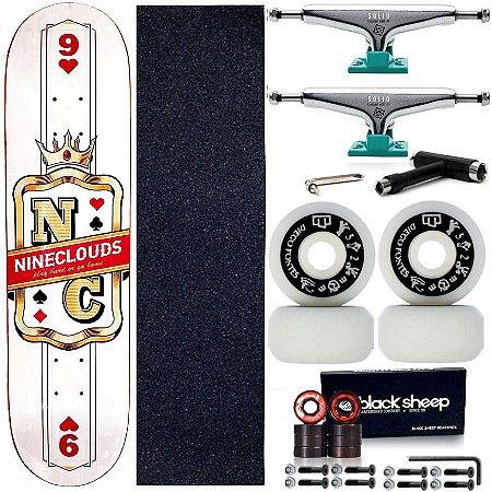 Skate Completo Maple Nineclouds 8.0 King + Roda Moska + Truck Intruder Green