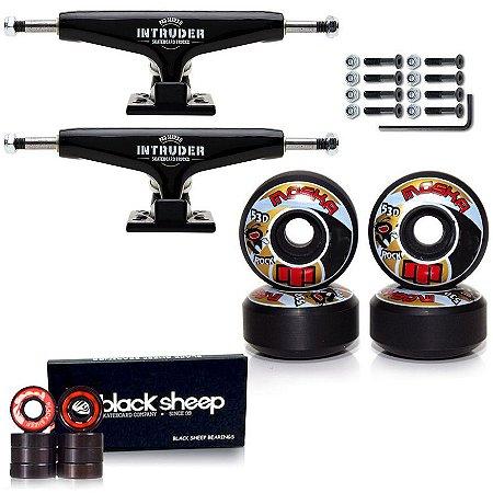 Truck Intruder 139mm Black + Roda Moska Rock 55mm + Rolamento Black Sheep Importado