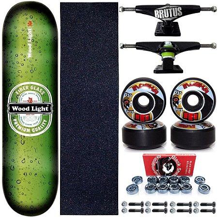 Skate Profissional Completo 8.0 Premium Wood Light Roda Moska Black