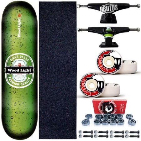 Skate Profissional Completo 8.0 Premium Wood Light Roda BS 55mm