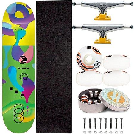 Skate Profissional Completo Art Color 8.125 Cisco Skate Truck Intruder Roda ThisWay