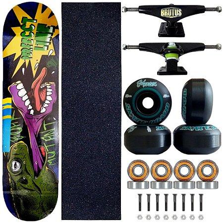Skate Profissional Completo Shape Perfect Line Mutant 8.0 Roda Black