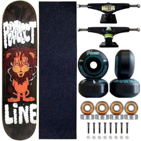 Skate Profissional Completo Shape Perfect Line Lion 8.0 Roda Black