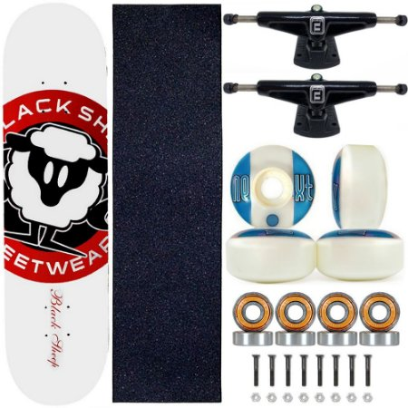 Skate Black Sheep Profissional Logo Branco Truck Fun Light