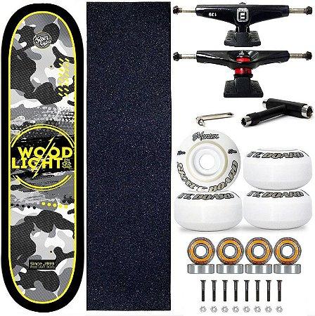 Skate Profissional Completo Shape Wood Light 8.0 Camufla Black Truck Fun Light