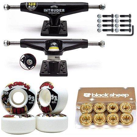 Truck Intruder 139mm Black + Roda Moska Rock 53mm + Rolamento Black Sheep Gold