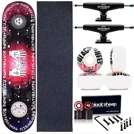 Skate Completo Maple Nineclouds 8.0 Mystic Truck Intruder Black Roda BS Importada
