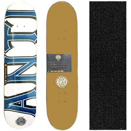 Shape para Skate Profissional Anti Action Branco 8.0 + Lixa de Brinde
