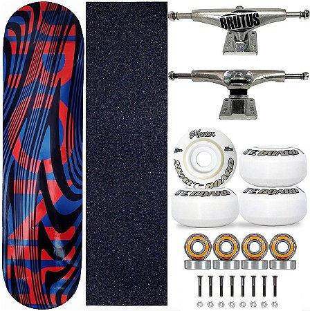 Skate Completo Profissional Shape 8.0 Kronik Red Lines Truck 139mm
