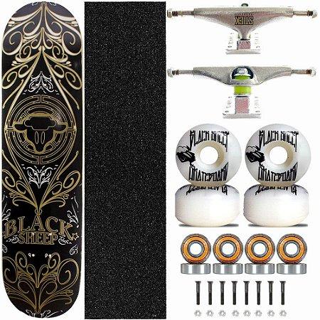 Skate Completo Black Sheep Profissional Tribal Gold Truck Stick Skate
