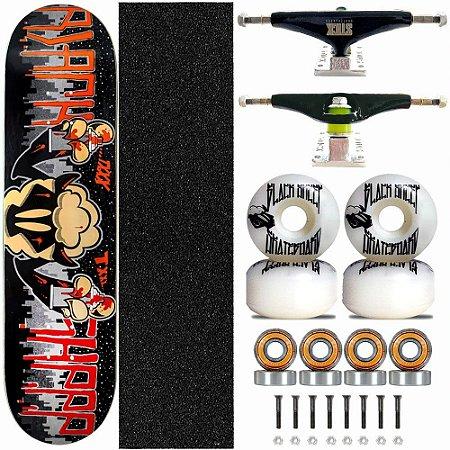 Skate Completo Black Sheep Profissional Graffite Truck Stick Skate Black