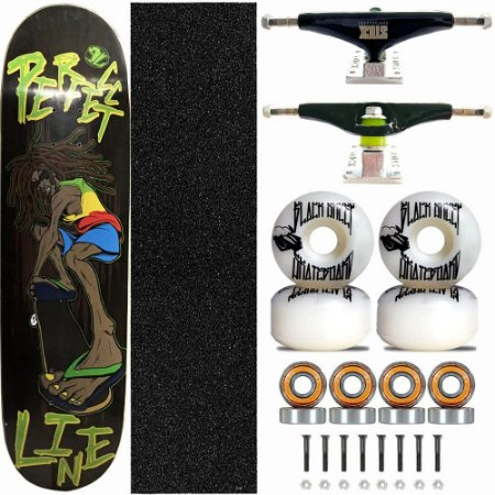 Skate Completo Profissional Shape Perfect Line 8.0 Reggae Truck Stick Skate Black