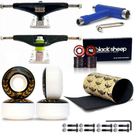 Roda Black Sheep 51mm + Truck Stick 139mm + Rolamento Black + Lixa Jessup + Chave T + Parafusos