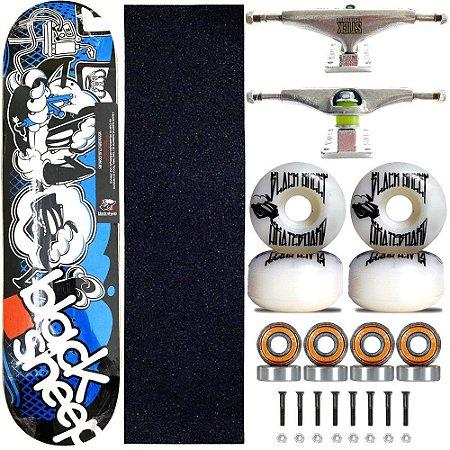 Skate Completo Black Sheep Profissional Blue Tattoo Truck Stick Skate