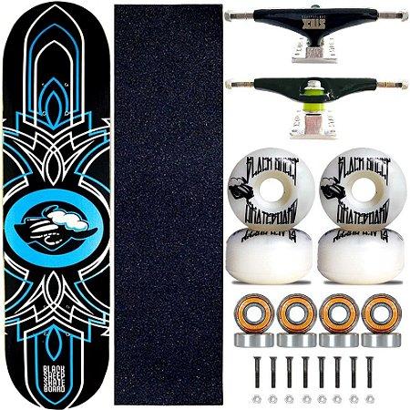 Skate Completo Black Sheep Profissional Logo Blue Truck Stick Skate Black